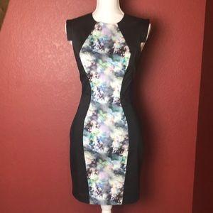 Bebe Black Watercolor Print Sheath Dress